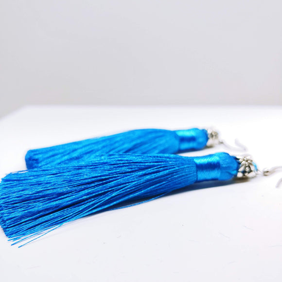 Tassel Dangly Earrings in Sky Blue - Ameli Jewellery Studio