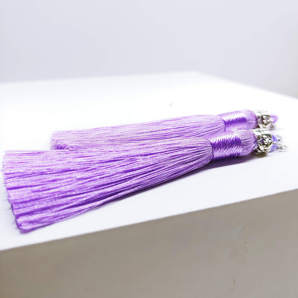 Tassel Dangly Earrings in Lilac - Ameli Jewellery Studio