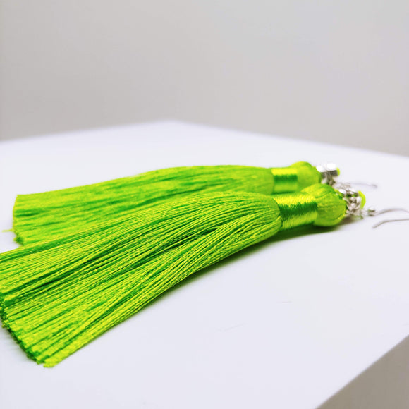 Tassel Dangly Earrings in Lime - Ameli Jewellery Studio