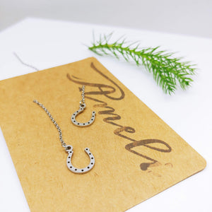 Dangle Pull Through Chain with Horse Shoe  Stainless Steel (Threader Earrings) - Ameli Jewellery Studio