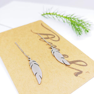Dangle Pull Through Chain with Feather  Stainless Steel (Threader Earrings) - Ameli Jewellery Studio