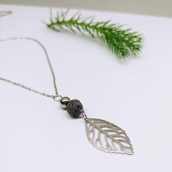 Leaf Lava Rock Diffuser Lariat Stainless Steel 18 Inch Necklace - Ameli Jewellery Studio