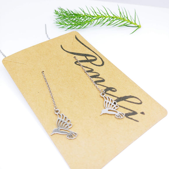 Dangle Pull Through Chain with Hummingbird Stainless Steel (Threader Earrings) - Ameli Jewellery Studio