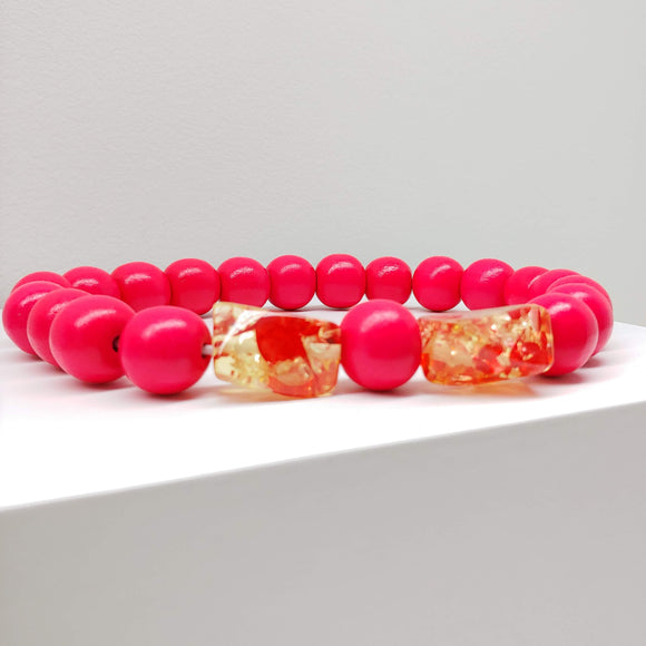 Natural Wooden Dog Necklace (Neon Hot Pink with Resin Bead) - Ameli Jewellery Studio