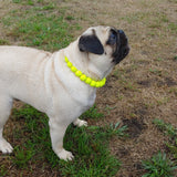 Natural Wooden Dog Necklace (Neon Bright Yellow with Resin Bead) - Ameli Jewellery Studio
