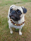 Natural Wooden Dog Necklace (Gold and Coffee Wood) - Ameli Jewellery Studio