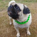 Natural Wooden Dog Necklace (Neon Grass Green with Resin Bead) - Ameli Jewellery Studio