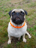 Natural Wooden Dog Necklace (Neon Tangerine with Resin Bead) - Ameli Jewellery Studio