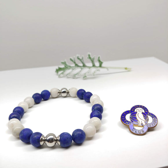 Sheffield Wednesday Football Club Bracelet-Lapis Lazuli, Crazy White Agate Stripes, Stainless Steel - Ameli Jewellery Studio