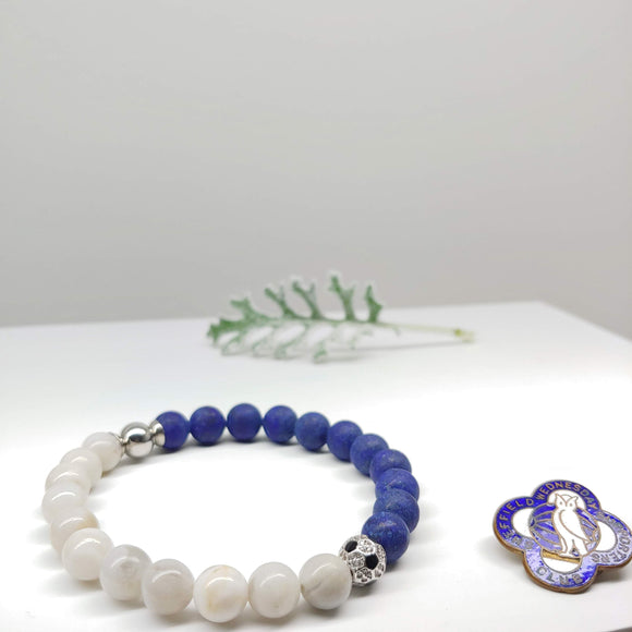 SSheffield Wednesday Football Club Bracelet-Lapis Lazuli, Crazy White Agate & Zircon Ball - Ameli Jewellery Studio