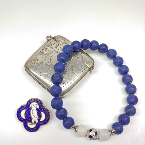 Sheffield Wednesday Football Club Bracelet-Lapis Lazuli, Crazy White Agate & Zircon Ball - Ameli Jewellery Studio