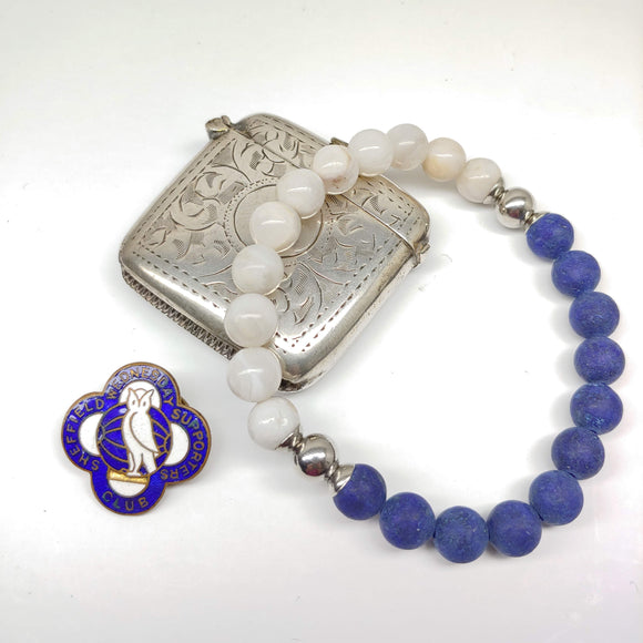 Sheffield Wednesday Football Club Bracelet-Lapis Lazuli, Crazy White Agate & Stainless Steel - Ameli Jewellery Studio