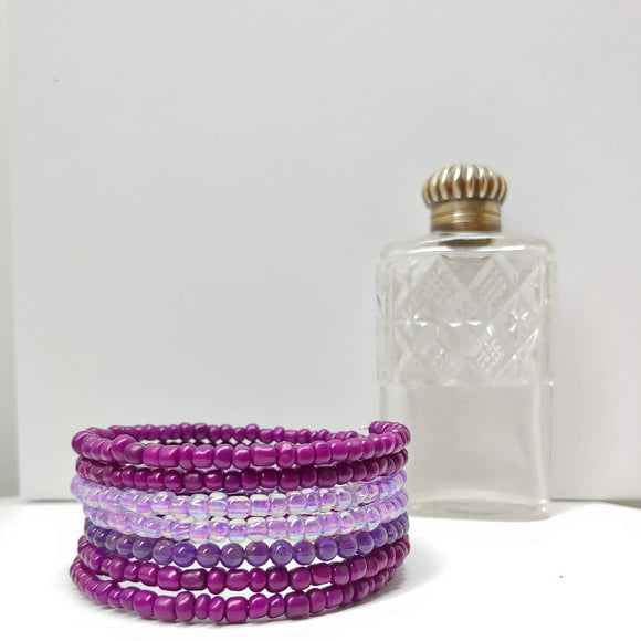 Amethyst, Purple and Lilac Glass Armilla Wrap Bracelet - Ameli Jewellery Studio