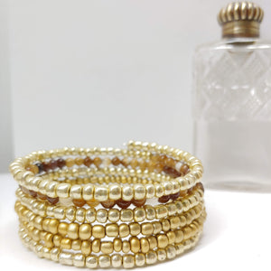 Smoky Quartz, Gold and Bright Gold Glass Armilla Wrap Bracelet - Ameli Jewellery Studio