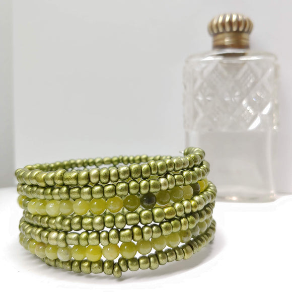 Jade and Sea Green Glass Armilla Wrap Bracelet - Ameli Jewellery Studio