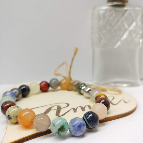 Mixed Gemstone Affirmation Bracelet (7 inches)