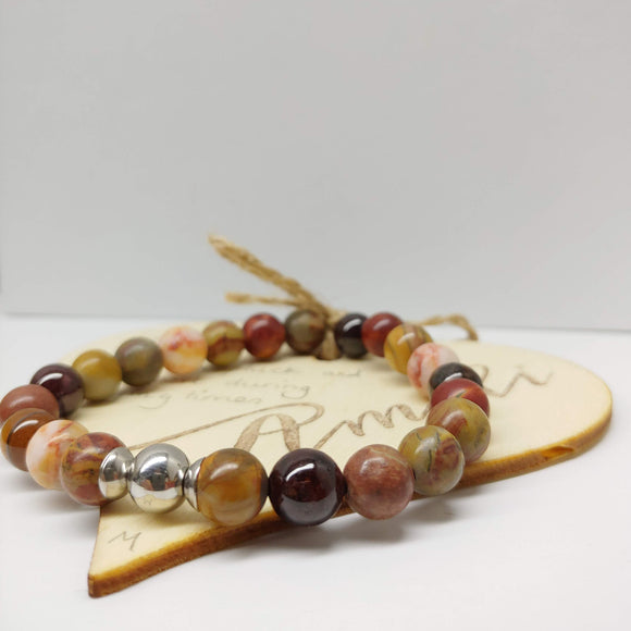 Jasper and Garnet Gemstone Affirmation Bracelet (7 inches)