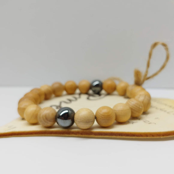 Sandalwood and Hematite Gemstone Affirmation Bracelet (7 inches)