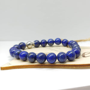 Lapis Lazuli Gemstone Affirmation Bracelet (7 inches)