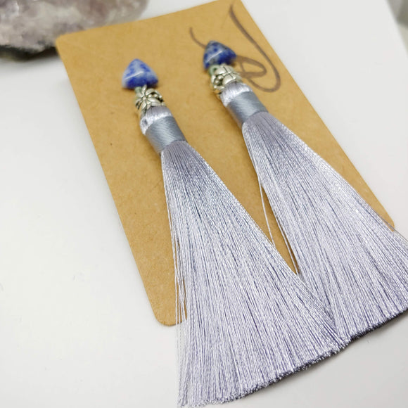 Gemstone with Grey / Silvery Tassel Dangly Earrings in Sodalite - Ameli Jewellery Studio