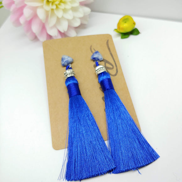 Gemstone with Royal Blue Tassel Dangly Earrings in Sodalite - Ameli Jewellery Studio
