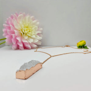 Druzy Rectangle Pendant Rose Gold Stainless Steel - Ameli Jewellery Studio