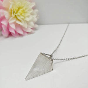 Milky Quartz Pendulum Crystal Necklace - Ameli Jewellery Studio