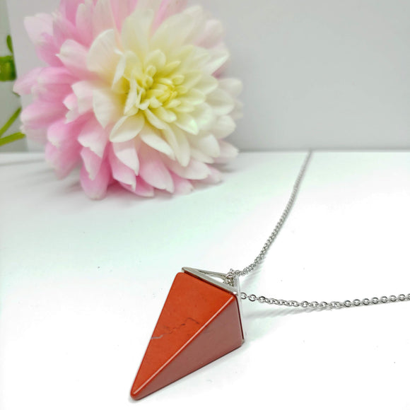 Red Jasper Pendulum Crystal Necklace - Ameli Jewellery Studio