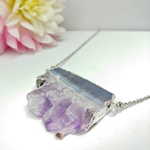 Natural Druzy Amethyst Pendant with Silver Brass on 28 Inch Chain. - Ameli Jewellery Studio