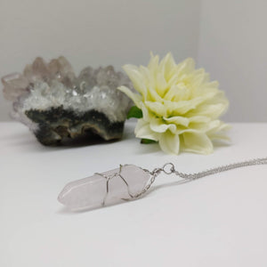 Rose Quartz Gemstone in Wire Wrap - Ameli Jewellery Studio