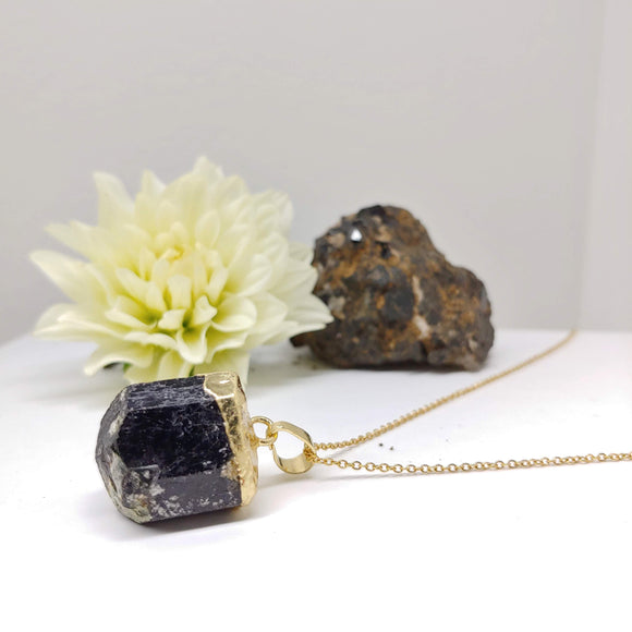 Tourmaline Crystal Long Necklace with Fine Golden Stainless Steel Chain