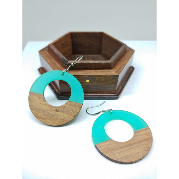 Wood and Turquoise Resin Colourful Hoop Earrings