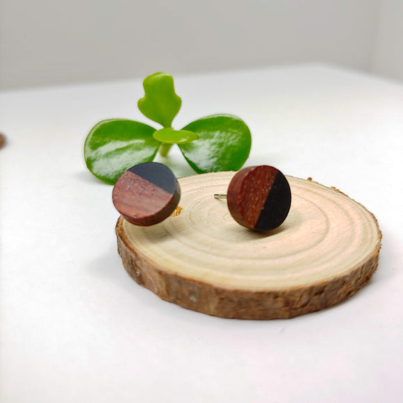 Dark Wood and Black Resin Colourful Studs - Round