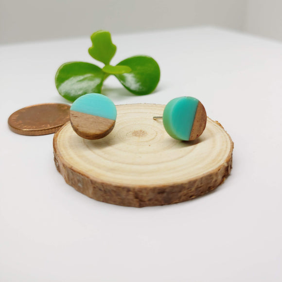 Wood and Turquoise Resin Colourful Studs - Round