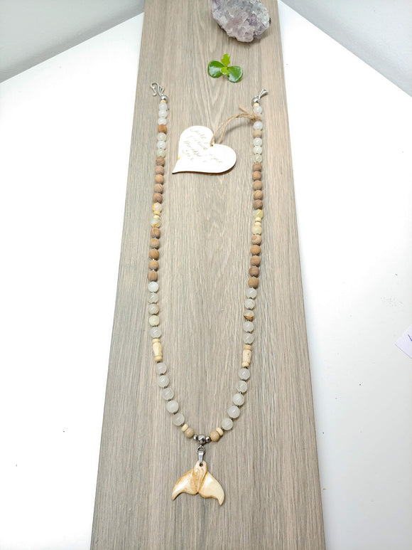 Mala Style Jade and Picture Jasper With Whale Tail 29.5