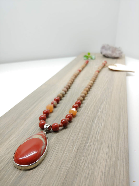 Mala Red Jasper Pendant and Picture Jasper 29.5