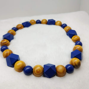 Natural Wooden Dog Necklace (Royal Blue, and Burly Wood) - Ameli Jewellery Studio