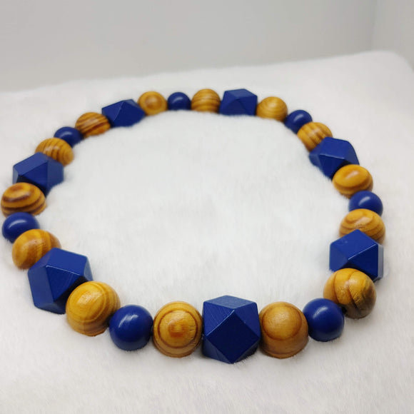 Natural Wooden Dog Necklace (Royal Blue, and Burly Wood)