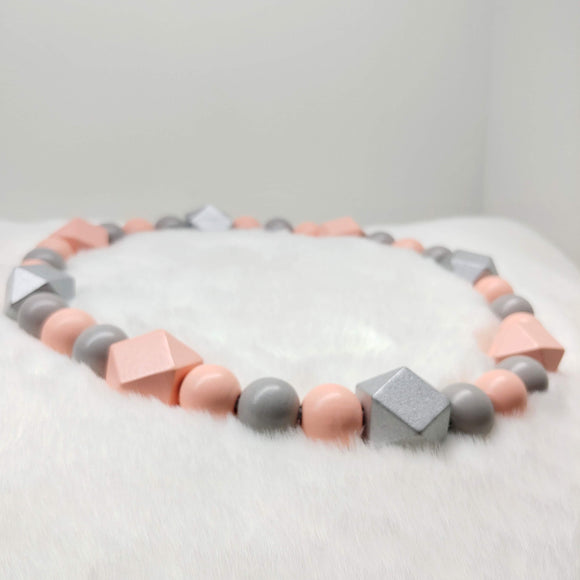 Natural Wooden Dog Necklace (Pink, Silver and Grey)