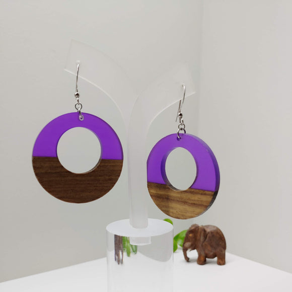 Wood and Purple Resin Colourful Hoop Earrings - Ameli Jewellery Studio