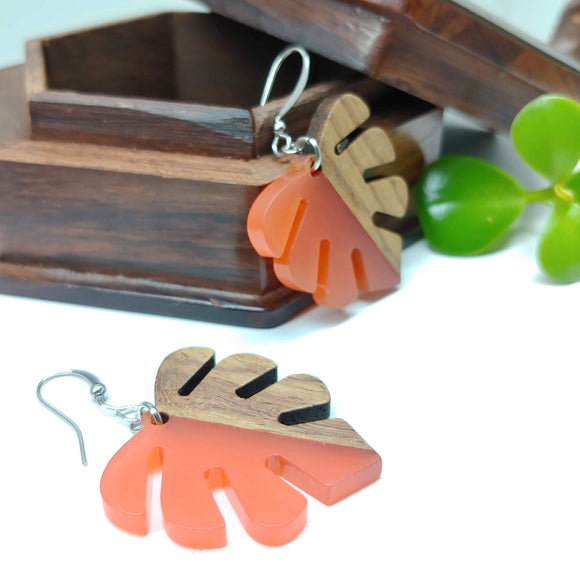 Wood and Resin Peach Opaque Monstera Leaf Earrings - Ameli Jewellery Studio