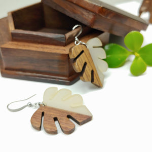 Wood and Resin Smoke / White Monstera Leaf Earrings - Ameli Jewellery Studio