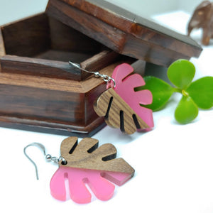 Wood and Resin Pink Opaque Monstera Leaf Earrings - Ameli Jewellery Studio