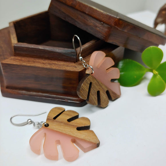 Wood and Resin Pale Pink Opaque Monstera Leaf Earrings - Ameli Jewellery Studio