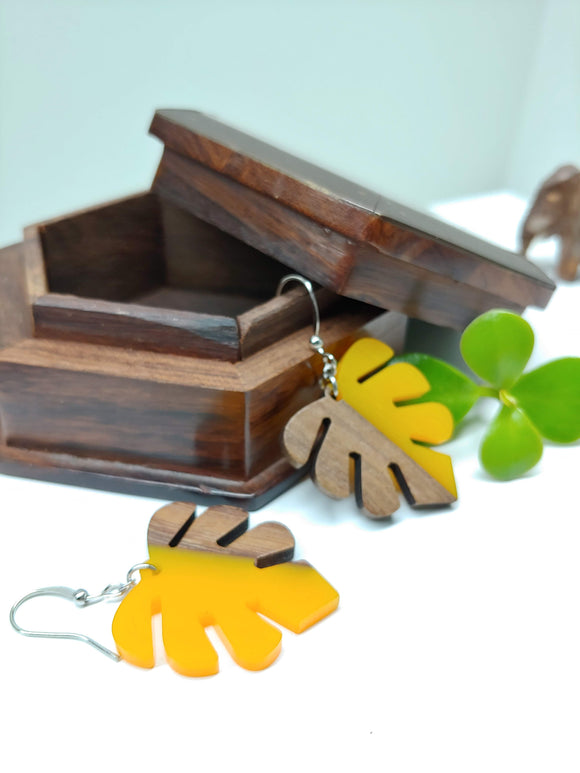 Wood and Resin Yellow Monstera Leaf Earrings - Ameli Jewellery Studio