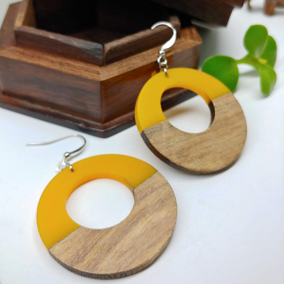 Wood and Yellow Resin Colourful Hoop Earrings