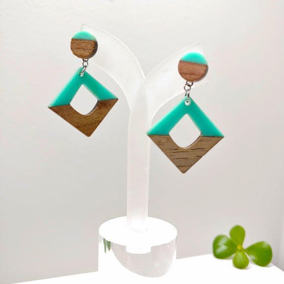 Wood and Turquoise Resin Rhombus Pendant Stud Dangle Earrings - Ameli Jewellery Studio
