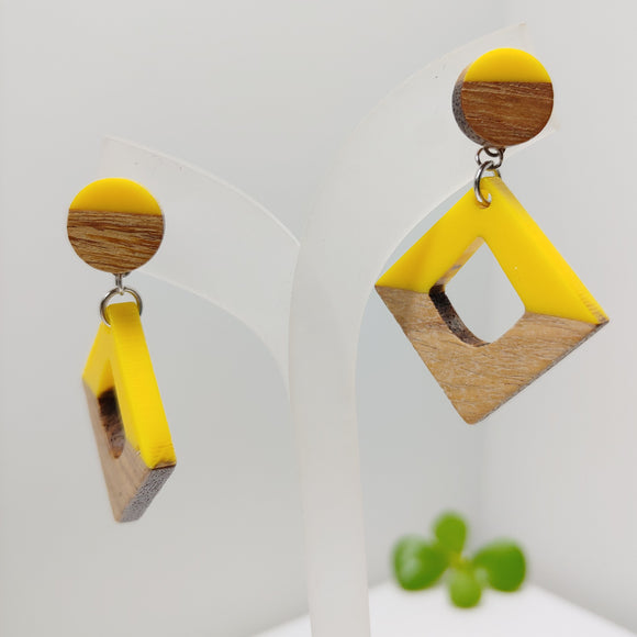 Wood and Yellow Resin Rhombus Stud Dangle Earrings - Ameli Jewellery Studio