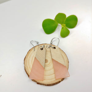 Wood and Pale Pink Resin Colourful Trapezoid Earrings - Ameli Jewellery Studio