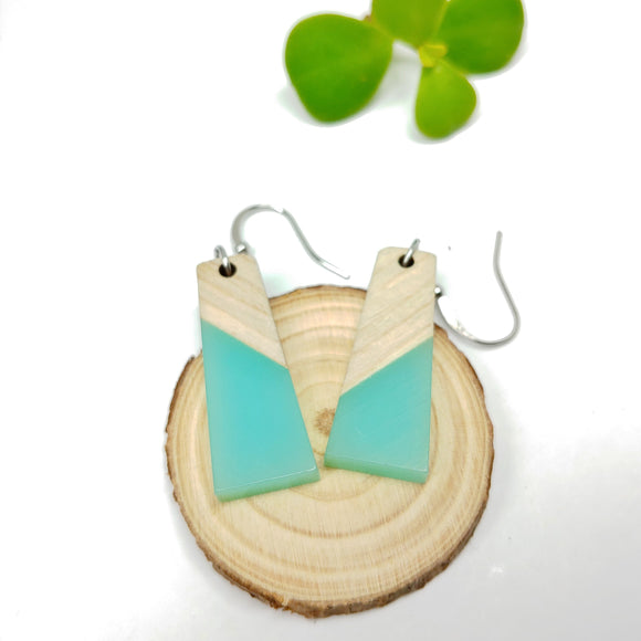 Wood and Turquoise / Green Resin Colourful Trapezoid Earrings - Ameli Jewellery Studio